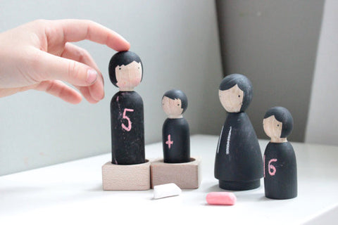 Chalk People Handmade Wooden Peg Doll Set