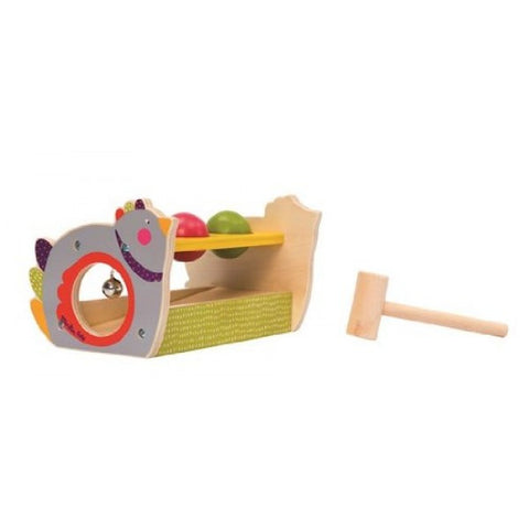 Moulin Roty Les Cousins Wooden Hen Hammer and Ball Set - Little Luna Blue