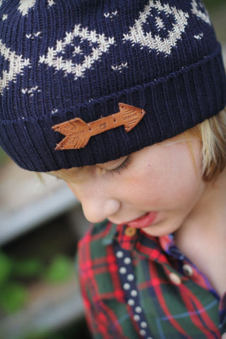 Scotch Shrunk Navy Arrow Beanie Hat - Little Luna Blue  - 1