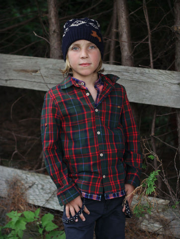 Scotch Shrunk Red & Green Plaid Shirt - Little Luna Blue  - 1