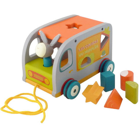 Moulin Roty Les Cousins Wooden Shape Sorting Truck - Little Luna Blue  - 1