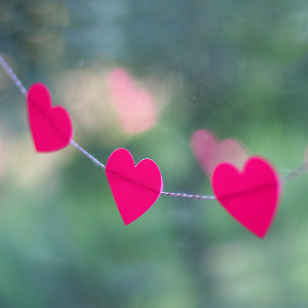 Neon Pink Heart Sticker Garland