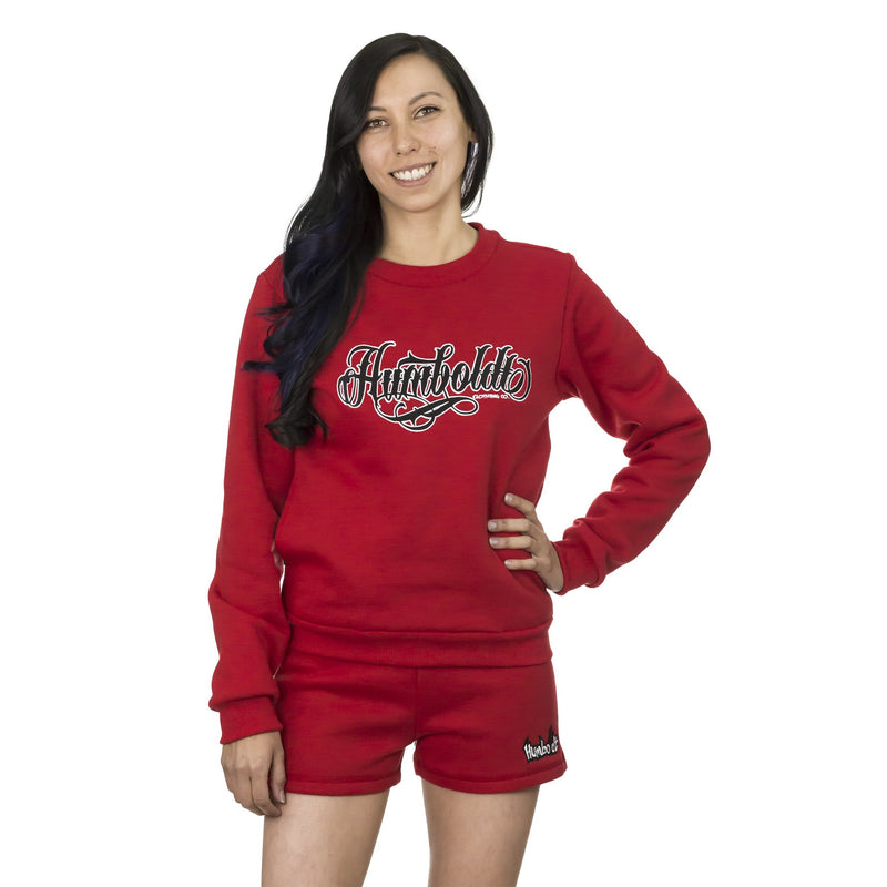 Tattoo Style Women's Crewneck - Red Humboldt Tattoo Sweatshirt | Humboldt Clothing