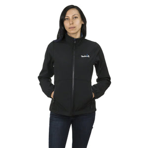 Softshell Women's Zipper Jacket - Black & Blue Waterproof Jacket | Humboldt Clothing