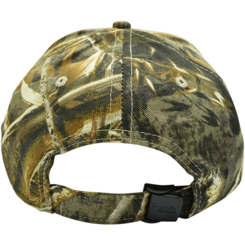 Curved Bill Camo Leather Patch Strap Hat