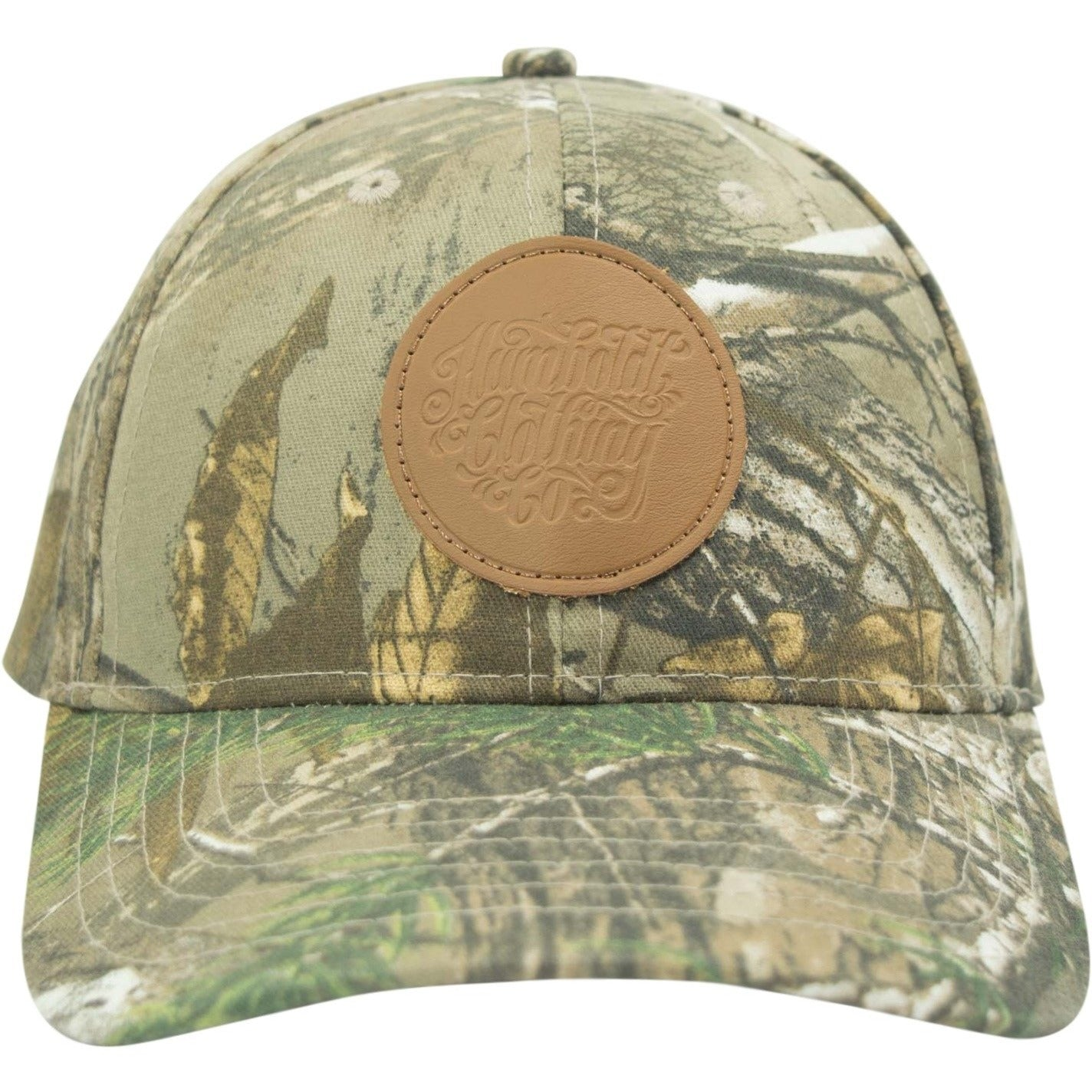 34051b972b9 Curved Bill Camo Leather Patch Strap Hat - Humboldt Clothing Company