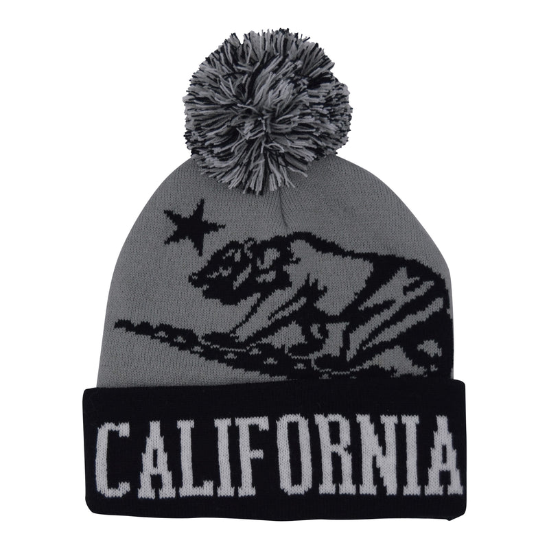 Cali Bear Foldup Beanie  Black/Grey