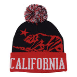 Cali Bear Foldup Beanie  Red/Black