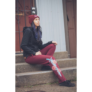 Heart Break Women's Sweatpants - Burgundy Dagger & Rose Sweats | Humboldt Clothing