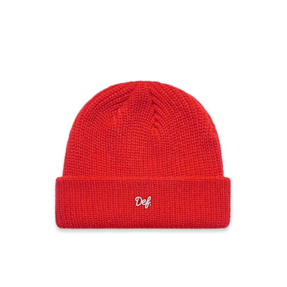 Def Mini Sig Ribbed Beanie - Red