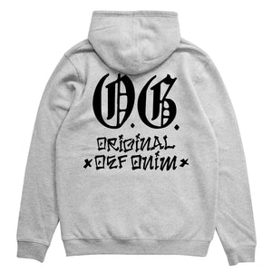 Load image into Gallery viewer, Def OG Cholo Puff Print Hood - Heather Grey (Mid-Weight)