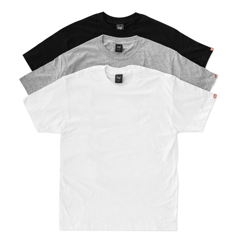 3x Def Pip Heavyweight Tee Pack - White/Heather/Black