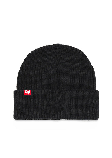 Def Pip Fisherman Ribbed Beanie - Black