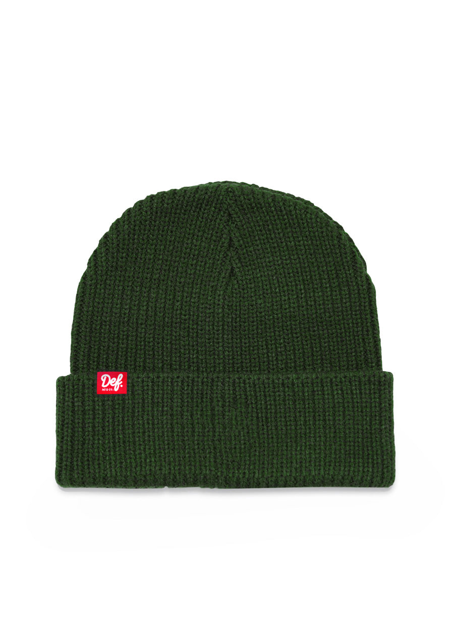 Def Pip Fisherman Ribbed Beanie - Forest Green (G)