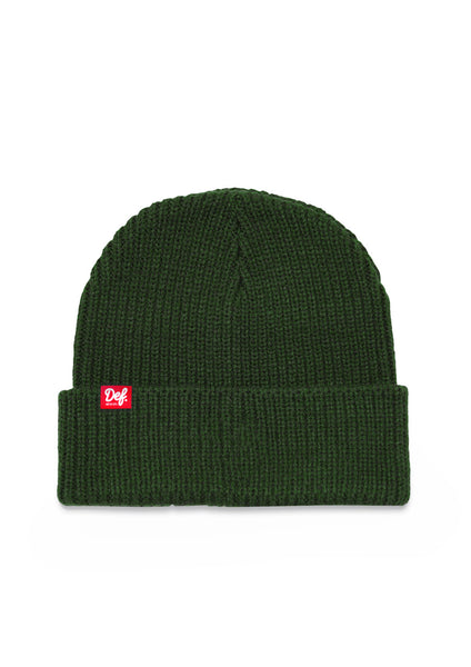 Def Pip Fisherman Ribbed Beanie - Forest Green