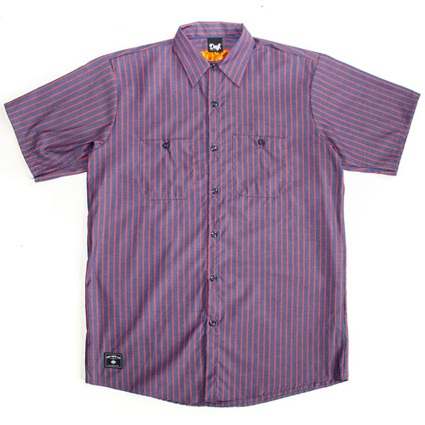 Def Red Kap Pin Stripe Work Shirt - Navy/Red