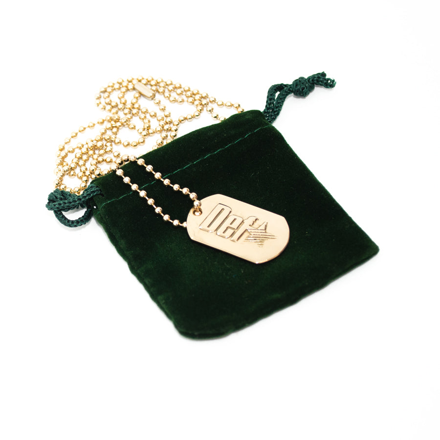 Def One Embossed Dog Tag Necklace - Brass