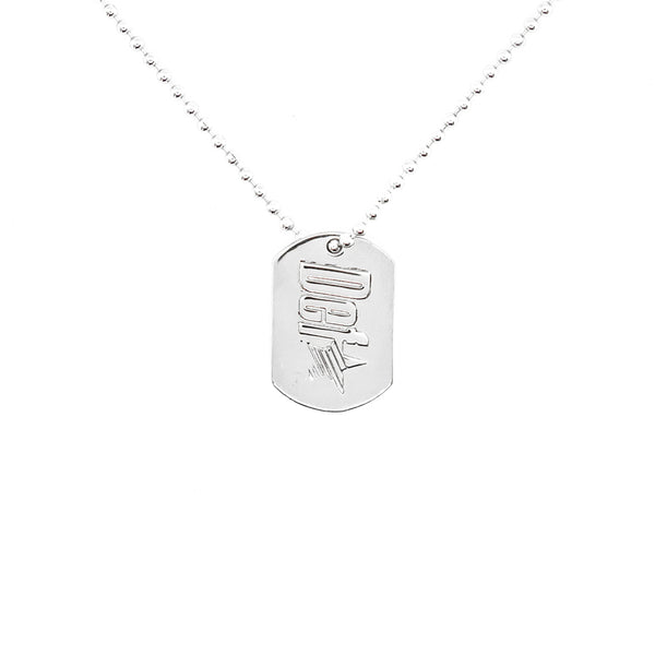 Def One Embossed Dog Tag Necklace - Sterling Silver