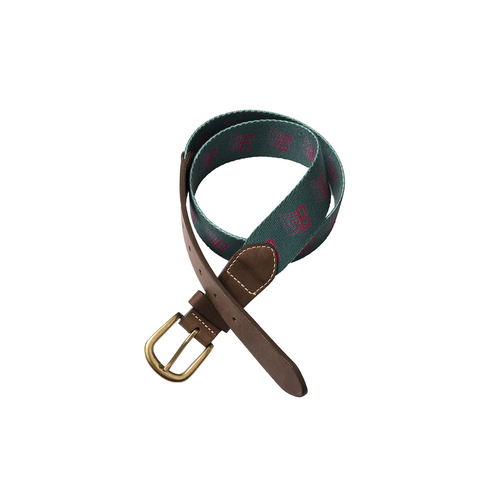 Bronze B Logo Belt - Emerald Green