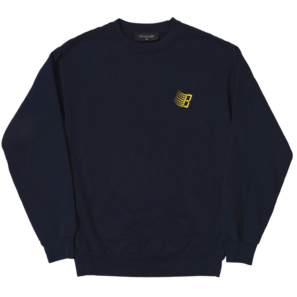 Bronze Embroidered B Crew -  Navy