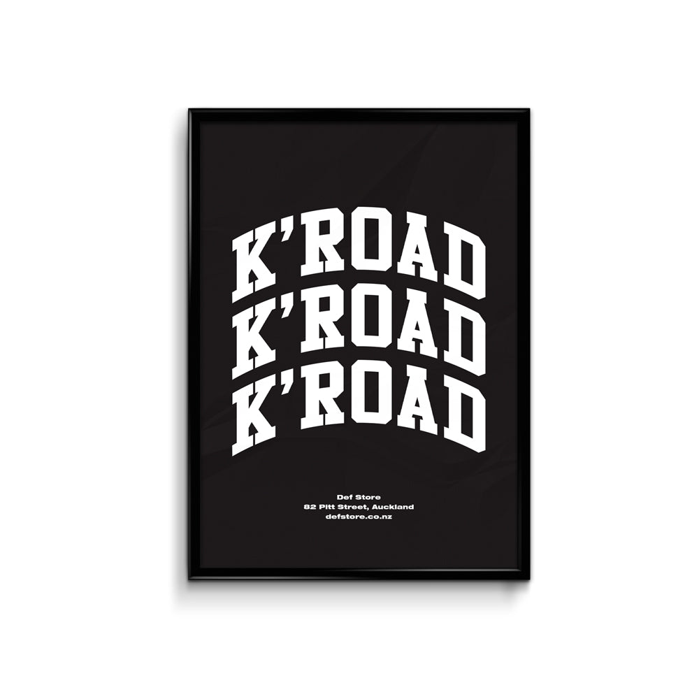 Def Store K'Road Arch Poster - A3 Black