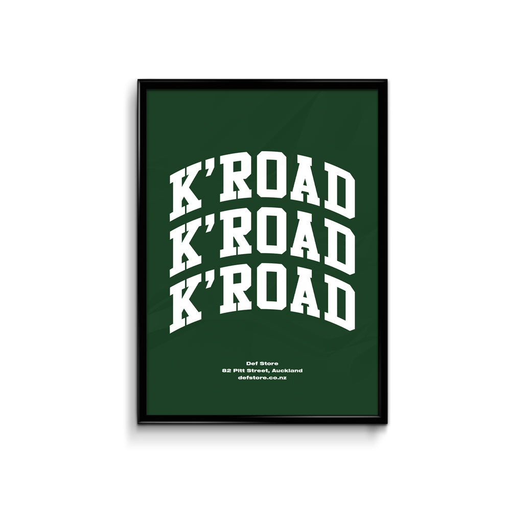 Def Store K'Road Arch Poster - A3 Forest Green (Pre-order)