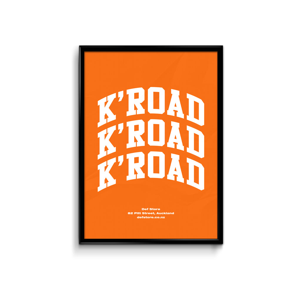 Def Store K'Road Arch Poster -A3 Orange