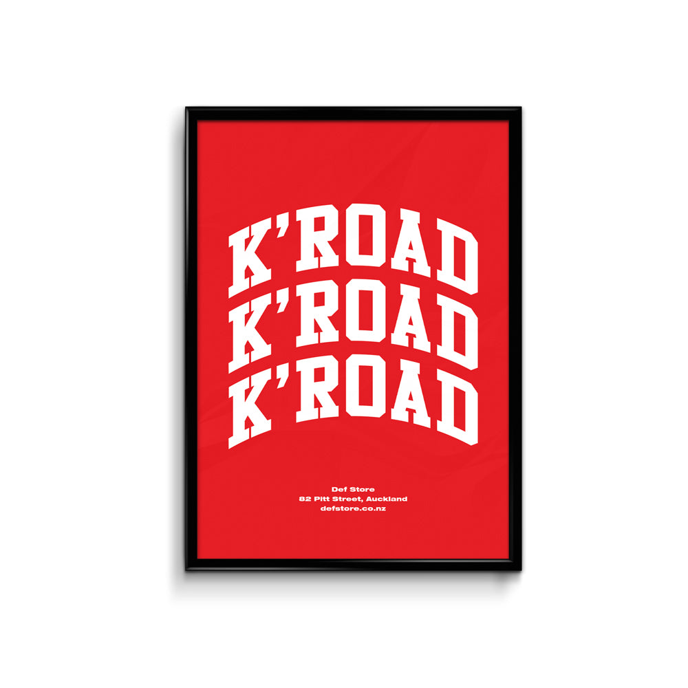 Def Store K'Road Arch Poster - A3 Red (Pre-order)