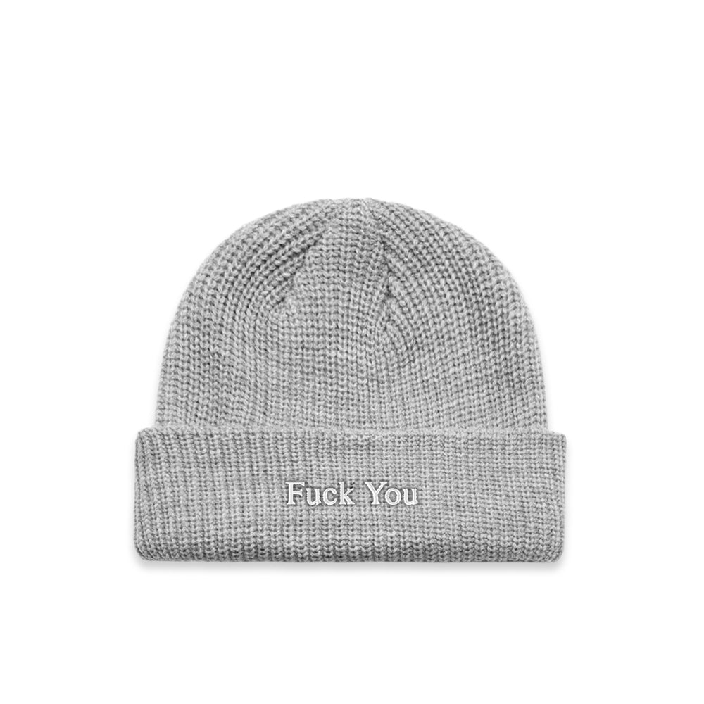 Def Typeface Ribbed Beanie - Grey