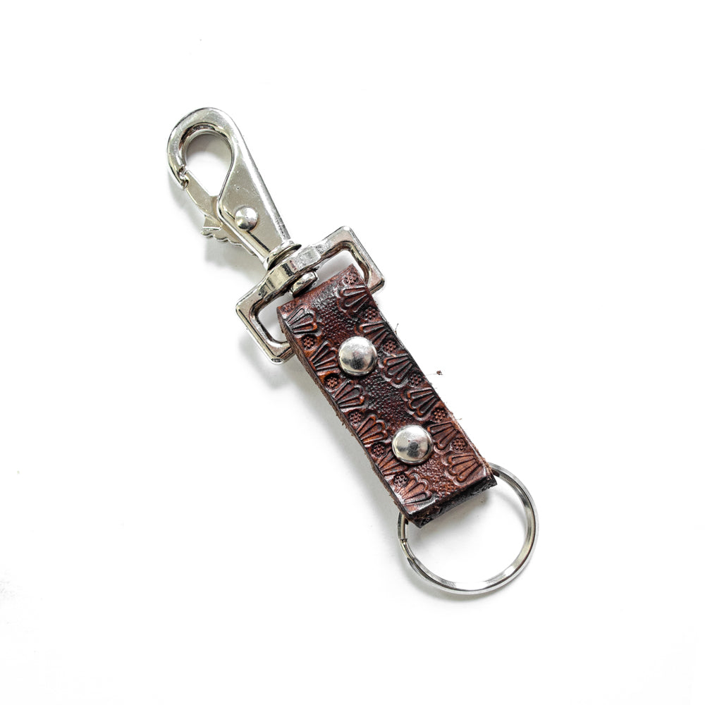 Hodgems Leather Key Holder - Brown/Silver