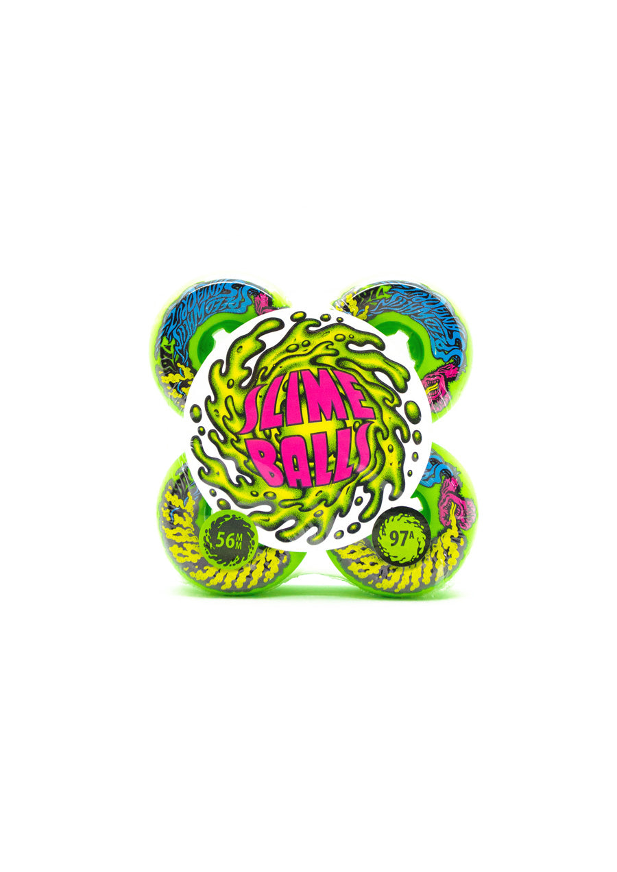 Santa Cruz Slime Balls Vomits Mini Neon Green 97a Wheels - 56mm