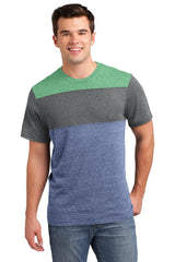 District Young Mens Tri-Blend Pieced Crewneck Tee. DT143
