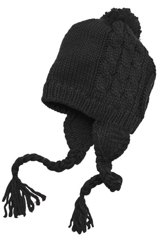 District - Cabled Beanie with Pom DT617