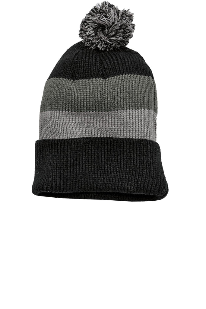 District - Vintage Striped Beanie with Removable Pom. DT627