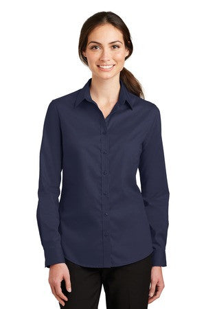 St Paul College Port Authority Ladies Long Sleeve SuperPro Twill Shirt. L663