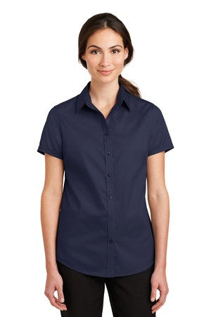 St Paul College Port Authority Ladies Short Sleeve SuperPro Twill Shirt. L664
