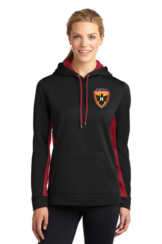 Blackhawks Colorblock Hooded Pullover. LST235 (Black with Red Inserts) (Ladies sizes) Embroidered Left Chest
