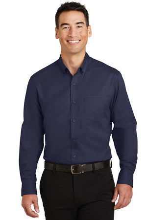 St Paul College Port Authority Mens Long Sleeve SuperPro Twill Shirt. S663