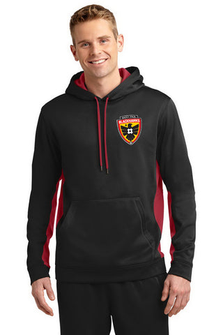 Colorblock Hooded Pullover (Blackhawks). ST235 (Black with Red Inserts) (Adult sizes) Embroidered Left Chest