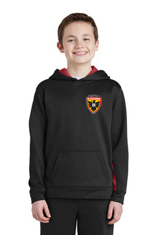 Blackhawks Colorblock Hooded Pullover . YST235 (Black with Red Inserts) (kid sizes) Embroidered Left Chest