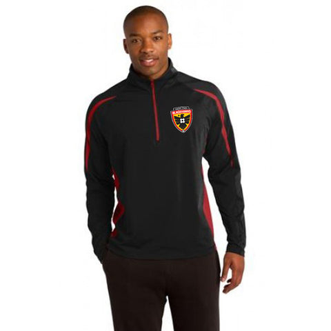 Blackhawks 1/2 Zip Pullover ST851 Black with Red Colorblocking Adult sizes - Embroidered, Left Chest