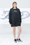 Dragon with Golden Pearl Black Embroidered Sweatshirt