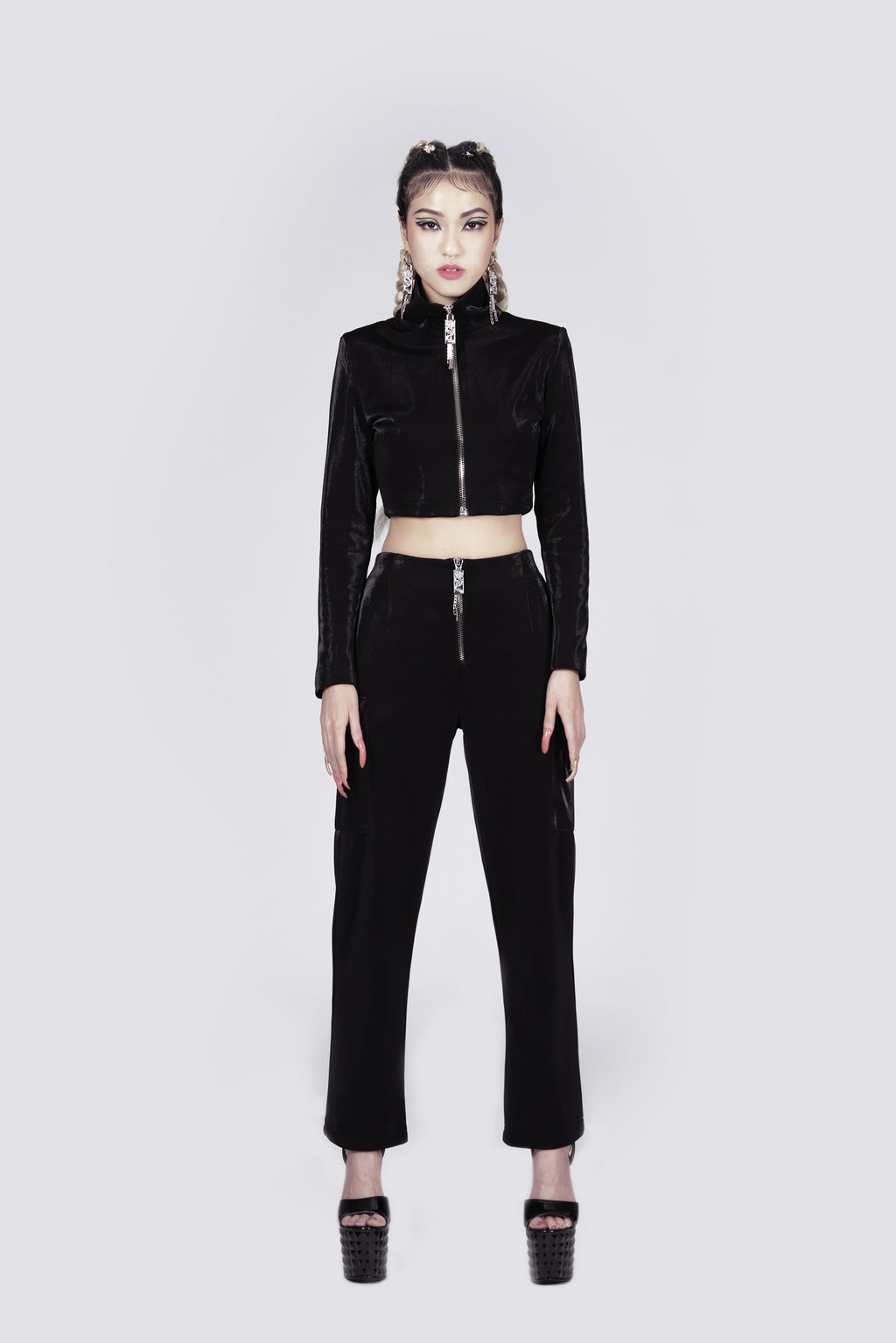 Agent Shade High-Neck Cropped Zipper Jacket
