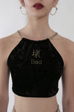 Bad & Love Me Embroidered Reversible Halter Top