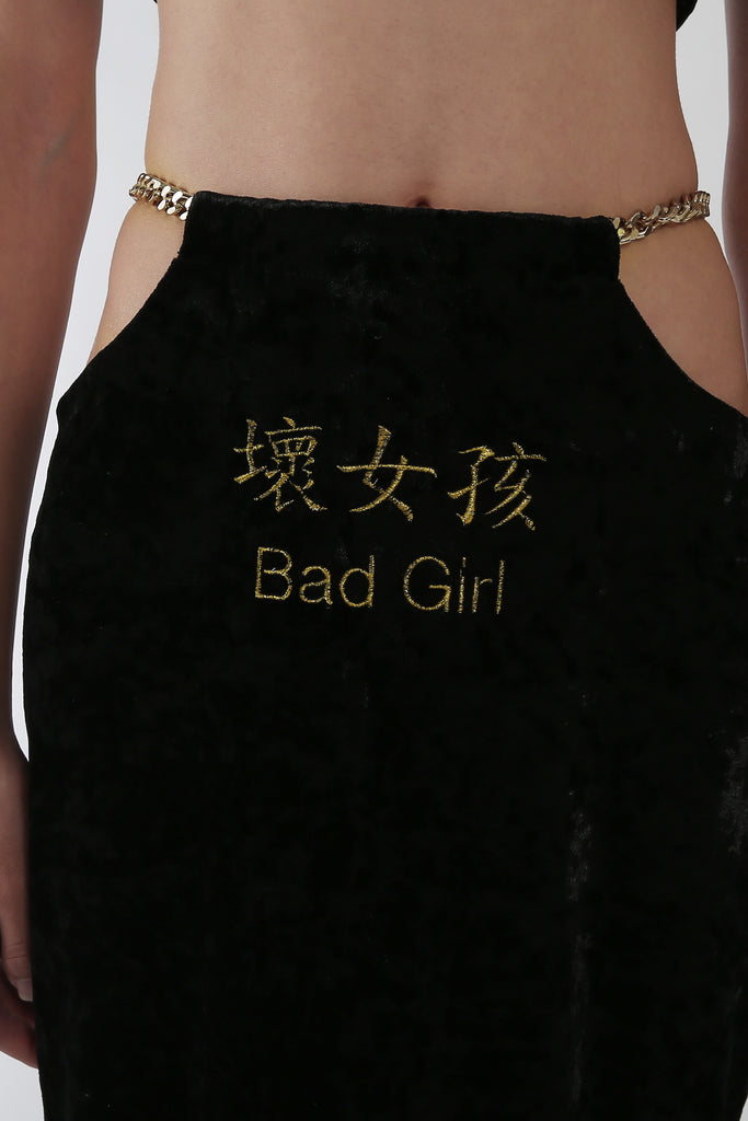 Bad Girl  & Spoilt Me Embroidery Reversible Slit Skirt & Dress
