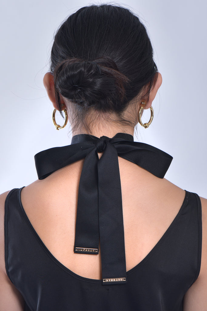 Lady Black Silky Wrap Dress + Dynasti logo Ribbon Scarf Choker