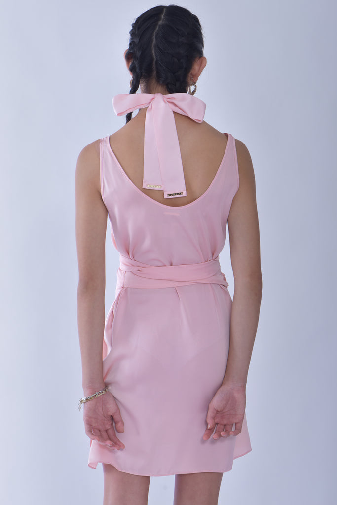 Lady Angel Baby Pink Wrap Dress + Baby Pink Scarf Choker