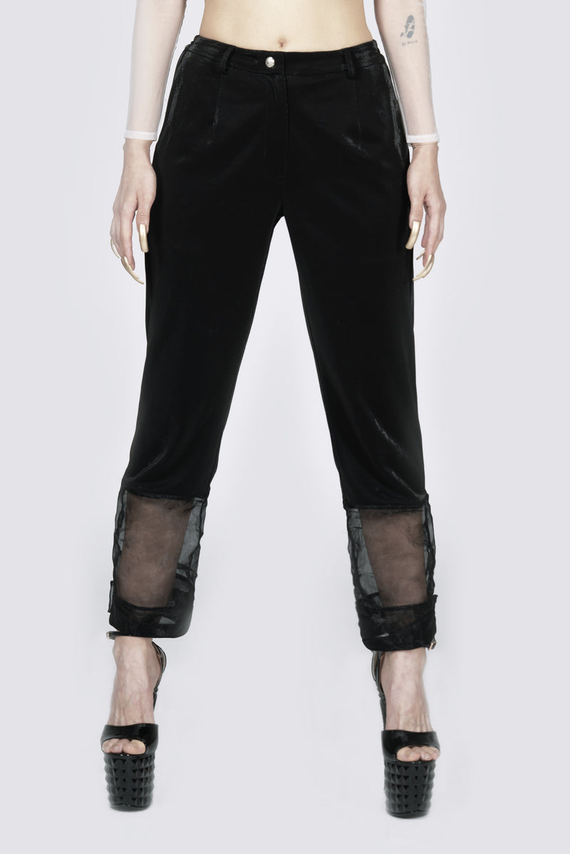 Ms Exec Three-quarter Sheer Black Pants