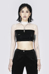 Ms Exec Semi-sheer Turtleneck Crop Top