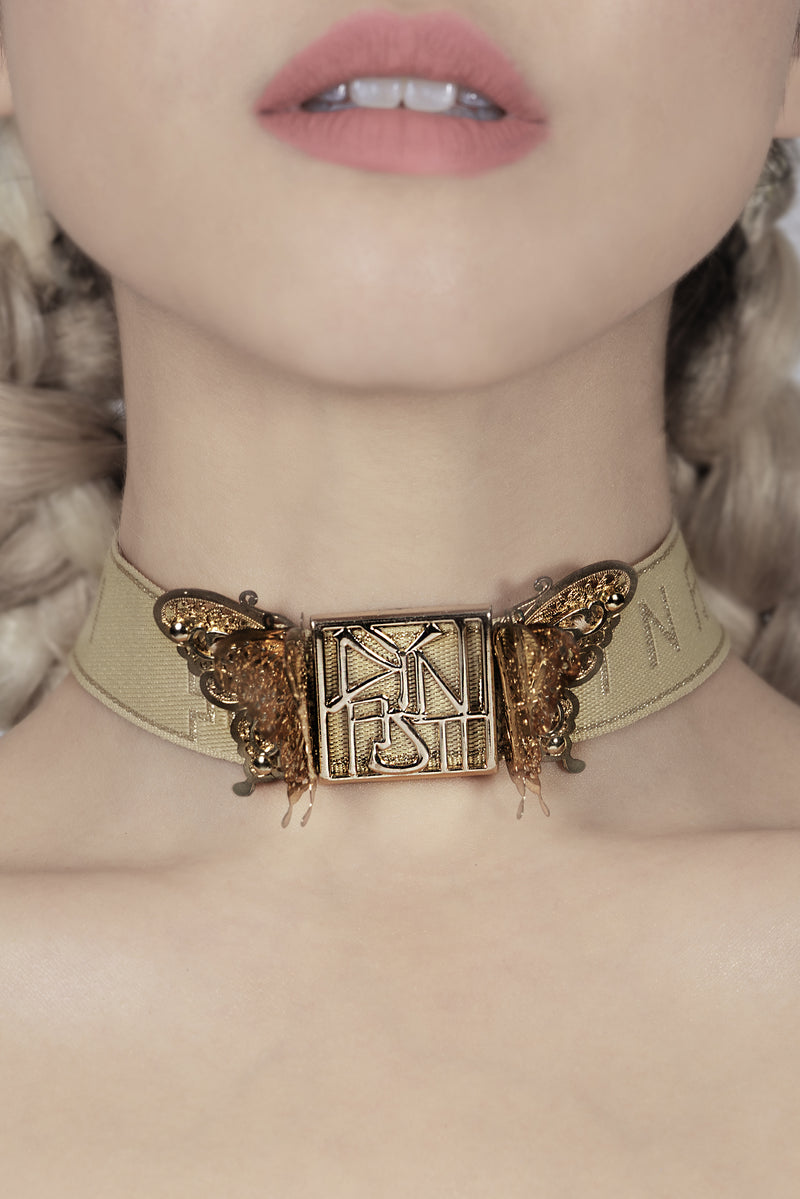Madame Marilyn Luxe 3D Butterfly Noir Champagne Collar